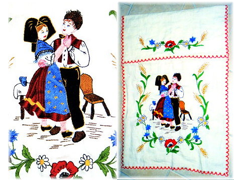 Broderie d'un couple alsacien folklorique traditionnel