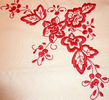 broderie traditionnelle rouge